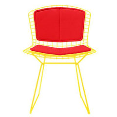 Bertoia Side Chair with Seat and Back Pad Side/Dining Knoll Yellow Vinyl - Red