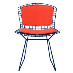 Bertoia Side Chair with Seat and Back Pad Side/Dining Knoll Blue Vinyl - Carrot