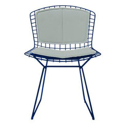 Bertoia Side Chair with Seat and Back Pad Side/Dining Knoll Blue Vinyl - Fog
