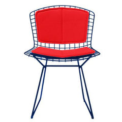 Bertoia Side Chair with Seat and Back Pad Side/Dining Knoll Blue Vinyl - Red