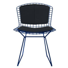 Bertoia Side Chair with Seat and Back Pad Side/Dining Knoll Blue Vinyl - Black