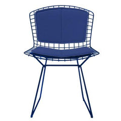 Bertoia Side Chair with Seat and Back Pad Side/Dining Knoll Blue Vinyl - Blueberry