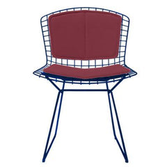Bertoia Side Chair with Seat and Back Pad Side/Dining Knoll Blue Vinyl - Claret