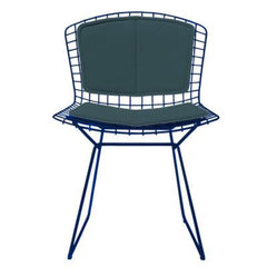 Bertoia Side Chair with Seat and Back Pad Side/Dining Knoll Blue Vinyl - Spruce