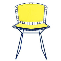 Bertoia Side Chair with Seat and Back Pad Side/Dining Knoll Blue Vinyl - Sunflower