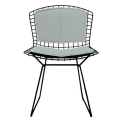 Bertoia Side Chair with Seat and Back Pad Side/Dining Knoll Black Vinyl - Fog