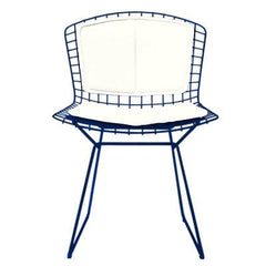 Bertoia Side Chair with Seat and Back Pad Side/Dining Knoll Blue Vinyl - White