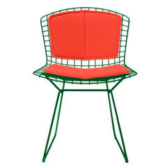Bertoia Side Chair with Seat and Back Pad Side/Dining Knoll Green Vinyl - Carrot