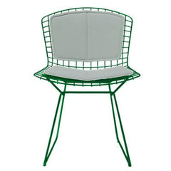 Bertoia Side Chair with Seat and Back Pad Side/Dining Knoll Green Vinyl - Fog