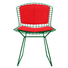 Bertoia Side Chair with Seat and Back Pad Side/Dining Knoll Green Vinyl - Red