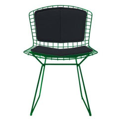 Bertoia Side Chair with Seat and Back Pad Side/Dining Knoll Green Vinyl - Black