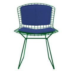 Bertoia Side Chair with Seat and Back Pad Side/Dining Knoll Green Vinyl - Blueberry