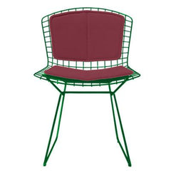 Bertoia Side Chair with Seat and Back Pad Side/Dining Knoll Green Vinyl - Claret
