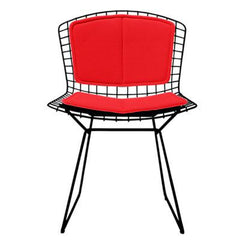 Bertoia Side Chair with Seat and Back Pad Side/Dining Knoll Black Vinyl - Red