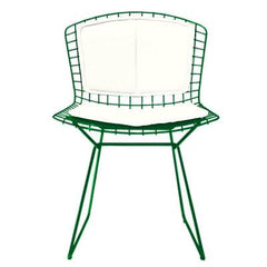 Bertoia Side Chair with Seat and Back Pad Side/Dining Knoll Green Vinyl - White