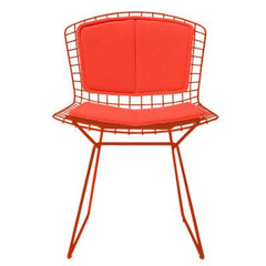 Bertoia Side Chair with Seat and Back Pad Side/Dining Knoll Red Vinyl - Carrot