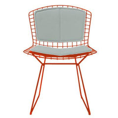 Bertoia Side Chair with Seat and Back Pad Side/Dining Knoll Red Vinyl - Fog