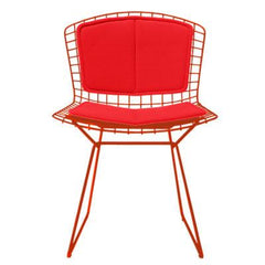 Bertoia Side Chair with Seat and Back Pad Side/Dining Knoll Red Vinyl - Red