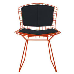Bertoia Side Chair with Seat and Back Pad Side/Dining Knoll Red Vinyl - Black