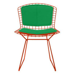 Bertoia Side Chair with Seat and Back Pad Side/Dining Knoll Red Vinyl - Lime