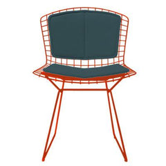 Bertoia Side Chair with Seat and Back Pad Side/Dining Knoll Red Vinyl - Spruce