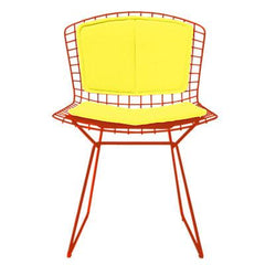 Bertoia Side Chair with Seat and Back Pad Side/Dining Knoll Red Vinyl - Sunflower