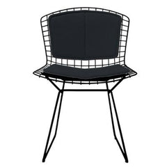 Bertoia Side Chair with Seat and Back Pad Side/Dining Knoll Black Vinyl - Black