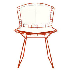 Bertoia Side Chair with Seat and Back Pad Side/Dining Knoll Red Vinyl - White