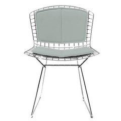 Bertoia Side Chair with Seat and Back Pad Side/Dining Knoll Chrome Vinyl - Fog