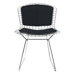 Bertoia Side Chair with Seat and Back Pad Side/Dining Knoll Chrome Vinyl - Black