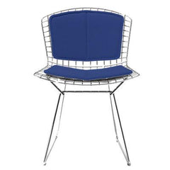 Bertoia Side Chair with Seat and Back Pad Side/Dining Knoll Chrome Vinyl - Blueberry