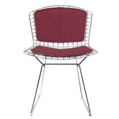 Bertoia Side Chair with Seat and Back Pad Side/Dining Knoll Chrome Vinyl - Claret