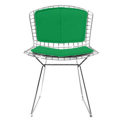 Bertoia Side Chair with Seat and Back Pad Side/Dining Knoll Chrome Vinyl - Lime