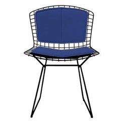 Bertoia Side Chair with Seat and Back Pad Side/Dining Knoll Black Vinyl - Blueberry