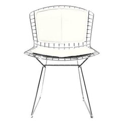 Bertoia Side Chair with Seat and Back Pad Side/Dining Knoll Chrome Vinyl - White