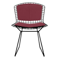 Bertoia Side Chair with Seat and Back Pad Side/Dining Knoll Black Vinyl - Claret