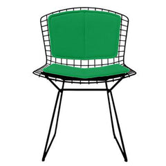 Bertoia Side Chair with Seat and Back Pad Side/Dining Knoll Black Vinyl - Lime