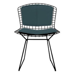 Bertoia Side Chair with Seat and Back Pad Side/Dining Knoll Black Vinyl - Spruce