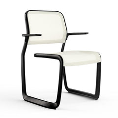 Newson Aluminum Chair Side/Dining Knoll Armchair Black Warm White