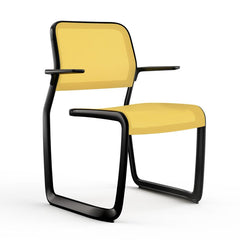 Newson Aluminum Chair Side/Dining Knoll Armchair Black Yellow