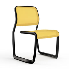 Newson Aluminum Chair Side/Dining Knoll Armless Black Yellow