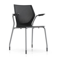 MultiGeneration Stacking Chair - No Seat Pad task chair Knoll Fixed Arms + $40.00 Glides Onyx