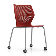 MultiGeneration Stacking Chair - No Seat Pad task chair Knoll Armless Soft Casters for Hard Floors +$22.00 Dark Red