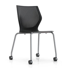 MultiGeneration Stacking Chair - No Seat Pad task chair Knoll Armless Soft Casters for Hard Floors +$22.00 Onyx
