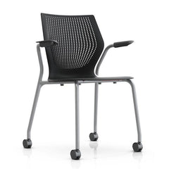 MultiGeneration Stacking Chair - No Seat Pad task chair Knoll Fixed Arms + $40.00 Soft Casters for Hard Floors +$22.00 Onyx