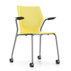MultiGeneration Stacking Chair - No Seat Pad task chair Knoll Fixed Arms + $40.00 Soft Casters for Hard Floors +$22.00 Yellow