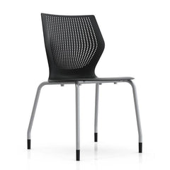 MultiGeneration Stacking Chair - No Seat Pad task chair Knoll Armless Glides Onyx