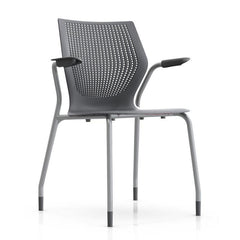 MultiGeneration Stacking Chair - No Seat Pad task chair Knoll Fixed Arms + $40.00 Glides Dark Grey