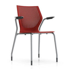 MultiGeneration Stacking Chair - No Seat Pad task chair Knoll Fixed Arms + $40.00 Glides Dark Red