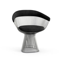 Platner Arm Chair Side/Dining Knoll Polished Nickel Black Circa